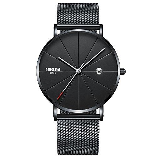 Herren Uhren, Herren-Armbanduhr mit Edelstahl Milanaise Armband Mesh-Metallband Schwarz