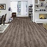 HORI Klick Vinylboden Komplettset I PVC Bodenbelag I Sockelleiste und Trittschalldämmung optional wählbar I Muster