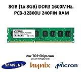 unimega 8GB (1 x 8GB Modul) DDR3 1600MHz PC3-12800U 240PIN 1,35V Non-ECC 3rd. PC RAM Speicher Memory mit Premium-Chips von Samsung, Hynix oder Micron