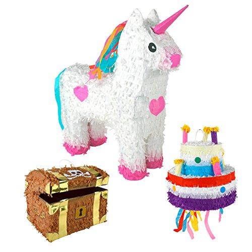 Pinata Piñata Torte Einhorn Schatztruhe Papier Geburtstag Mottoparty Süßigkeiten Geschenk (Einhorn) - 2