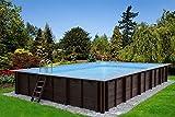Interline 50700192 Bali Auf-und Erdeinbau Holzwand rechteck Pool 8,34m x 4,90m x 1,38m ohne Sandfilter