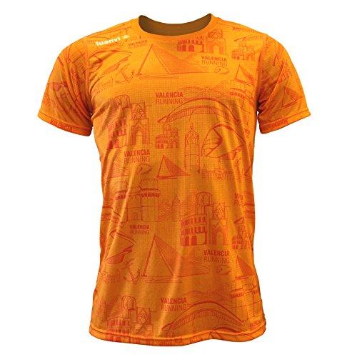 Luanvi Edición Limitada Camiseta técnica Iconos Valencia, Hombre, Naranja, XL (56-73cm)