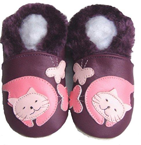 Lederhausschuhe-rembourré-chaussures jinwood kITTY-violet-baby-chaussures en cuir Violet - Violet/vert-noir-blanc