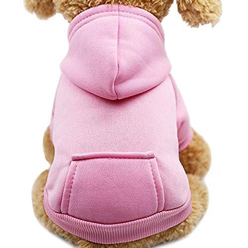 Idepet Felpa con Cappuccio per Cane Animale Domestico Autunno Inverno Cappotto Caldo Vestiti per Cani in Cotone Tinta Unita con Tasca Tuta da Cane Pullover Outdoor per Cani di Piccola Taglia
