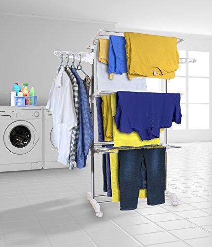 Kleidung Étendoir Wäscheständer Extra große 3-Tier Wäschetrockner Rail faltbar (Extra Groß-kleidung)