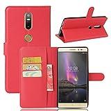 Wrcibo Lenovo Phab 2 Plus Hülle, Wrcibo Flip Case Cover PU Schutzhülle Tasche Leder Brieftasche Hülle mit Magnetverschluss und Karte Halter für Lenovo Phab 2 Plus, Rot