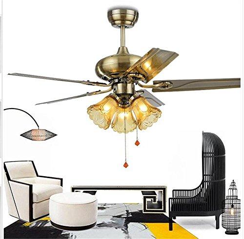 H&M Kronleuchter Das Restaurant Retro-Eisen Blatventilator helles Wohnzimmer mit LED-Haupt Kiba antiken Kronleuchter Fan, A - Bronze Traditionellen Indoor-fan