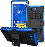 Xperia Z3 Compact Handy Tasche, FoneExpert® Hülle Abdeckung Cover schutzhülle Tough Strong Rugged Shock Proof Heavy Duty Case für Sony Xperia Z3 Compact + Displayschutzfolie (Blau)