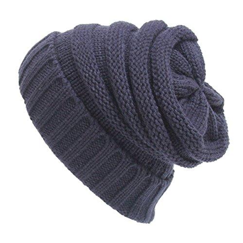 Maglieria di lana cappello caldo - iParaAiluRy unisex di lusso alla moda morbido Slouchy del cappello della protezione del Beanie in inverno e primavera (Blu Ciano)