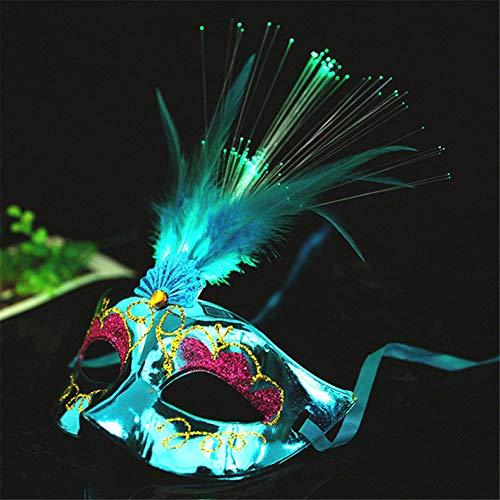 Kostüm Geist Blauen Maske - Starall Mode Frauen LED Masken Halloween Maskerade Party Kostüm Requisiten Damen Mädchen Prinzessin Feder Maske (Blau)