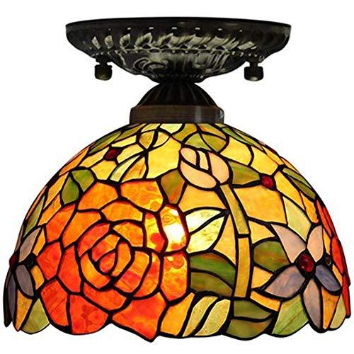 XYQS Tiffany Stil Europäische Retro Farbe Glas Licht Deckenleuchte Pastoralen Stil Geeignet für Wohnzimmer Schlafzimmer Restaurant Bar Gang Korridor Badezimmer Coffee Shop (watt : 220V)