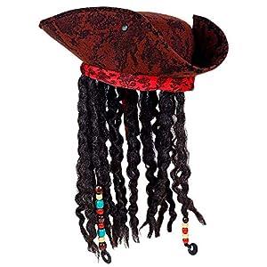 WIDMANN 01892 Piratas Tripunte con bandana y Dreadlocks, Hombre, Rojo vino/Negro, Talla Única