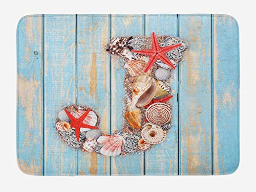 ZiJface Letter J Bath Mat, Summer Holiday on Tropical Beach Theme J Rustic Old Wood Planks, Plush Bathroom Decor Mat with Non Slip Backing, 31.69 X 19.88 Inches, Pale Blue Ivory Dark Coral (Beach Wood Flooring)
