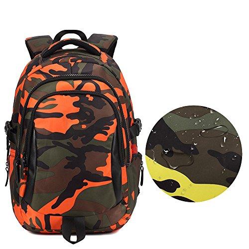 KINDOYO Jungen Mädchen Wasserdichte Rucksack für Kinder Unisex Schulrucksäcke Rucksack für Reisen, Wandern Orange-S