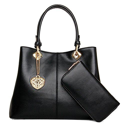 fanhappygo Fashion Retro Leder Damen elegant Bogen taschen Schulterbeutel Umhängetaschen Abendtaschen schwarz