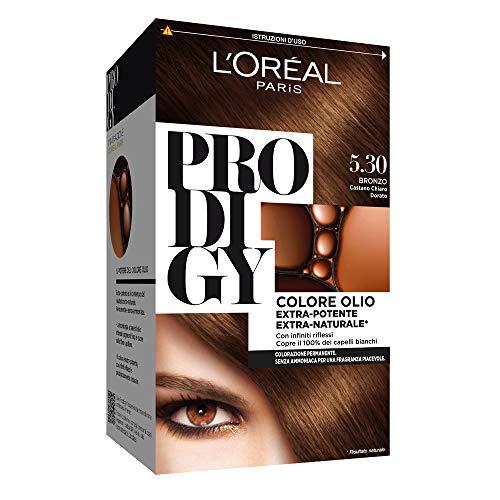 L'oréal paris colorazione permanente per capelli prodigy, 5.3 bronzo castano chiaro dorato