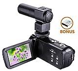 Kamera Camcorder,Onshowy Full HD 1080p Digital Camcorder, 24,0 MP 16x Digital Zoom, LCD Display 7.6 cm (3,0 Zoll) Externes Mikrofon Anti-Shake Digital Videokamera Portable DV mit Fernbedienung enthalten, Schwarz