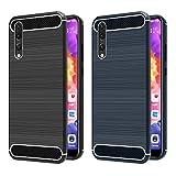 iVoler [2 Stücke] Hülle Kompatibel für Huawei P20 Pro, Carbon Faser Case Tasche Schutzhülle mit Stoßdämpfung Soft Flex TPU Silikon Handyhülle - (Schwarz+Blau)