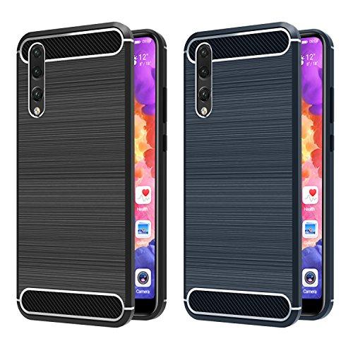 [Lot de 2] Coque Huawei P20 Pro, iVoler Silicone Etui Case Cover Housse pour Huawei P20 Pro Coque Fibre de Carbone de Protection en TPU avec Absorption de Choc Ultra Mince Anti-Rayures pour Huawei P20 Pro (Noir+Bleu)