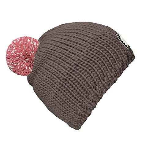 """bommelME """"seeME bonnet d'enfants"""" bonnet à pompom réfléchissant avec pompom d'échange réfléchissant pour plus de sécurité sur la rue, bonnet: gris avec pompom brillant dans votre couleur Grin / antique Rose reflechissant"""