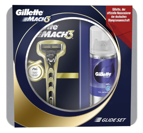 Geschenkset Gillette Mach3 Rasierer Golden plus Gratis Series MiniGel 75 ml, Limited Special Edition Rasierer Golden