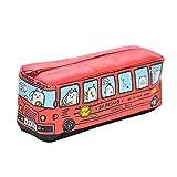 FYGOOD Sac à Stylos Trousse à Crayons Scolaire Toile Forme Bus Rouge 20x7x6cm