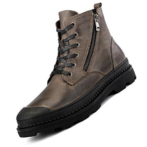 ByBetty Herren Leder Stiefeletten Winter Warme Stiefel High Top Arbeit Boot Lace Up Zip Schuh