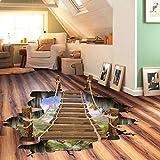 Meaosy Dangling 3D Hängebrücke Schlafzimmer Wohnzimmer Boden Aufkleber Aufkleber Wände Dekor Fototapete