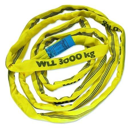 Braun 30061RS Câble de traction avec gaine en polyester, capacité de charge 3000 kg Jaune 6 m/longueur utile 3 m
