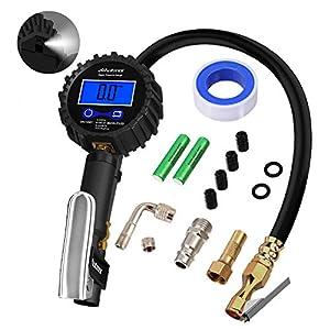235PSI Manómetro Digital, Autmor Medidor de Presión de Neumáticos con Pantalla LCD, 1/4″ NPT, Resolución de Pantalla 0,1, para Motocicleta, Automóviles, Coche, Bicicleta
