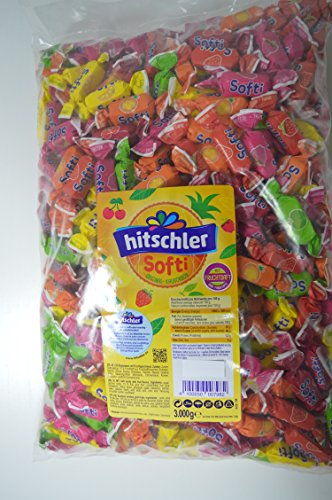 3 KG Hitschler Softi Original Kaubonbon (3000g) / (ca.417 Stück) Kaubonbons mit Fruchtgeschmack - ohne Farbstoffe