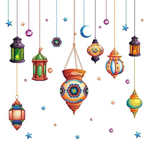 Meeoy Hauptküchenkunst-Aufkleberdekoration, persische ethnische Fernsehhintergrund-Spitzenwandaufkleber der Lampe - Persischen Garten Blumen