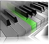 tasti di pianoforte pianoforte verde nero / bianco Dimensioni: 120x80 su tela, XXL enormi immagini completamente Pagina con la barella, stampa d'arte sul murale con telaio, più economico di pittura o un dipinto a olio, non un manifesto o un banner,