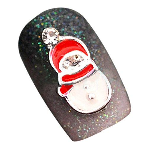 TOOGOO(R) Autocollants 3D des ongles en theme de Noel Bijoux d'ongles en alliage Autocollant d'art DIY en alliage Decorations des ongles 10 pieces Rouge + Blanc 014#
