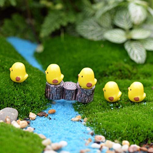 Miniature Fairy Garden - Cute 5 10 Pcs Diy Home Desktop Micro Moss Landscape Decorations Mini Yellow Chicken Crafts Fairy - Mushrooms Ornaments Animals Diner Mini Round Stone Statue Flowe -