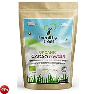 Cacao in Polvere BIO   Ricchi di Magnesio, Fibra, Proteina, Potassio e Ferro - Certificati Organici Polvere di Cacao da TheHealthyTree Company - 250g