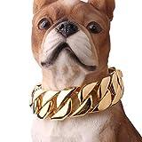 YOLANDE Hundehalsband, Panzerkette im Hip-Hop-Stil, Gold, breit, 15 mm, Flachpanzerkette, kubanisch, 316L-Edelstahl, für Ihren Hund, Würge-Halsband 40-65cm,Gold,55cm