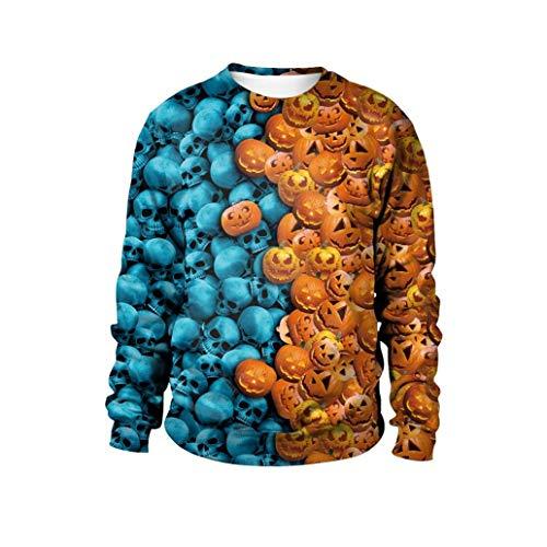 Halloween Kleider 3D Drucken Cosplay Halloween Damen Sweatshirt Oberteile Langarm T-Shirt Tops Tunika Hemd Pulli Schulter Druck-Jumper Pullover Oberteile- Lose Bluse(Blau,M)