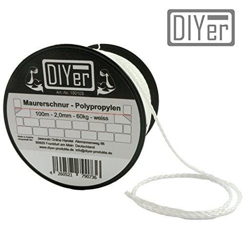 DIYer® - Premium Maurerschnur Mehrzweckseil Richtschnur Schnur - 2mm - 100m - ca. 60kg (daN) - Polypropylen - Farbe weiß - Made in AT