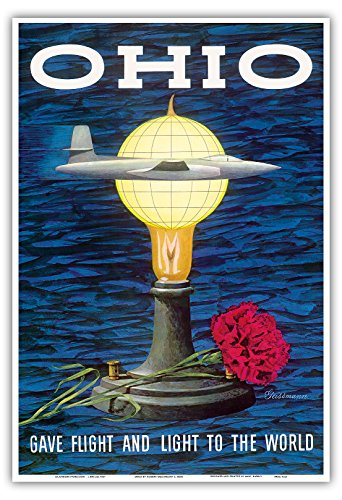 Price comparison product image Ohio USA - Gave Flight and Light to the World - Birthplace of Thomas Edison,  Wright Brothers - Vintage World Travel Poster by Robert Geissmann c.1960s - Master Art Print - 13in x 19in