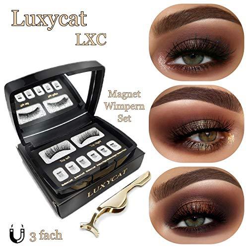 Luxycat Magnet Wimpern 3 Magnete, Premium Wimpernset mit Pinzette und Aufbewahrungsbox, magnetische Wimpern 3D, wiederverwendbar ohne Kleber, künstlich falsche Wimpern - Ein Youtube-wie Ein Man