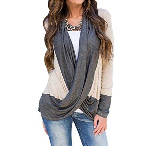 FEITONG Las mujeres atractivas del empalme irregular Algodón de manga larga con cuello en V Loose T Shirts remata la blusa (M,
