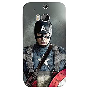 ColourCrust HTC One M8 Mobile Phone Back Cover With Captain America - Durable Matte Finish Hard Plastic Slim Case