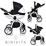 Binivita® Isabel White Collection Kinderwagen Kombikinderwagen Kombi 3 in 1 + Babyschale + Buggy-Kinderbuggy-Sportwagen + Babywagen 14-Teile Set inkl. Kinderwagentasche