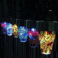 JINKAKA Solar Mosaic Garden Border Post Stake Lights
