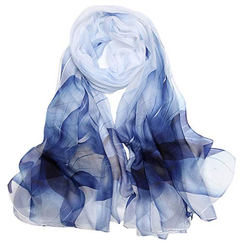 Seidenschal Damen Stola Schal 100 Seiden Tuch Groß Seidentuch Anti-Allergie XXL 180 * 110cm (Große Stola - Weiß Blau) MEHRWEG (Schals Damen Seide)