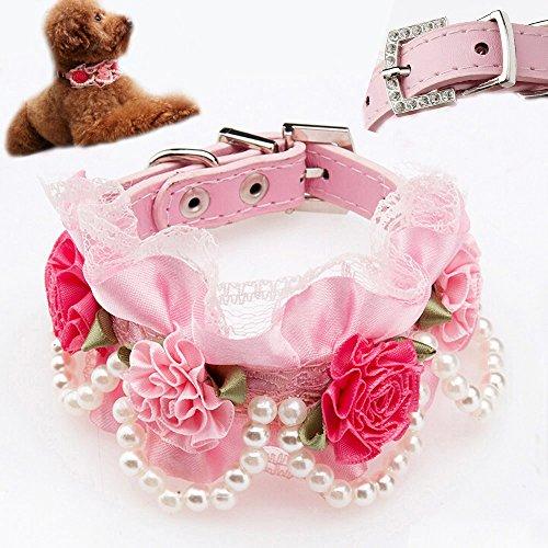 Bro'Bear Hundehalsband aus PU-Leder, verstellbar, mit Perlen, Spitze, Strass und 4 Blumen für kleine Tiere, Alltag, Spazieren, Party, Urlaub, Hochzeit, Geburtstagszubehör, Medium, Rose -