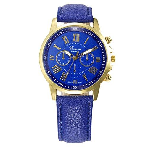 Women's Watches,Kingwo Ladies Wristwatch Fashion New Womens Fashion Geneva Roman Numerals Faux Leather Analog Quartz Wrist Watch (Blau)