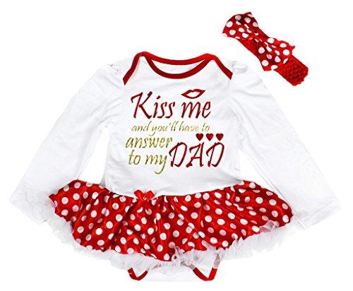 Petitebelle Kiss Me to My Dad White L/s Bodysuit Polka Dots Red Tutu Set Nb-18m (0-3 (Kostüme Baby Kiss)