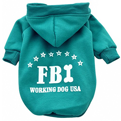 Hosaire Perro de Perrito del FBI Sudaderas Linda del Perrito Ropa de Abrigo con Capucha de la Chaqueta del Animal Doméstico del Gato size XXL (Verde)